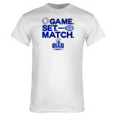 White T Shirt-Game. Set. Match. Tennis Design