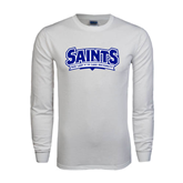 White Long Sleeve T Shirt-Saints - Our lady of the Lake University