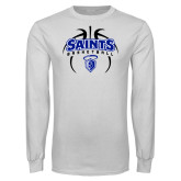 White Long Sleeve T Shirt-Basketball in Ball