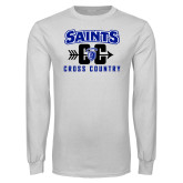 White Long Sleeve T Shirt-Cross Country Design