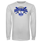 White Long Sleeve T Shirt-Softball Crossed Bats Design