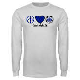 White Long Sleeve T Shirt-Just Kick It Soccer Design