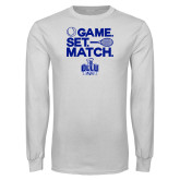White Long Sleeve T Shirt-Game. Set. Match. Tennis Design