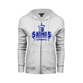 ENZA Ladies White Fleece Full Zip Hoodie-Our Lady of the Lake University Athletics - Offical Logo