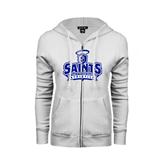 ENZA Ladies White Fleece Full Zip Hoodie-Our Lady of the Lake University Athletics - Offical Logo