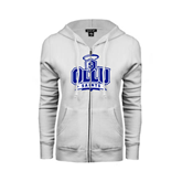 ENZA Ladies White Fleece Full Zip Hoodie-OLLU Saints