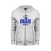 ENZA Ladies White Fleece Full Zip Hoodie-OLLU Saints