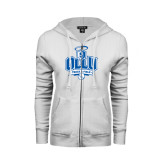 ENZA Ladies White Fleece Full Zip Hoodie-Track and Field
