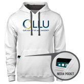Contemporary Sofspun White Hoodie-OLLU Our Lady of the Lake University Stacked
