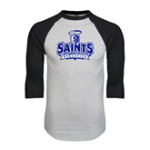 White/Black Raglan Baseball T-Shirt-Our Lady of the Lake University Athletics - Offical Logo Distressed