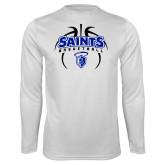 Performance White Longsleeve Shirt-Basketball in Ball
