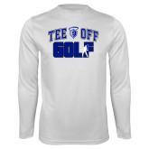 Performance White Longsleeve Shirt-Tee Off Golf Design