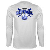 Performance White Longsleeve Shirt-Softball Crossed Bats Design