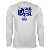 Performance White Longsleeve Shirt-Game. Set. Match. Tennis Design