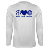 Performance White Longsleeve Shirt-Peace Love and Volleyball Design