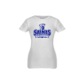 Youth Girls White Fashion Fit T Shirt-Our Lady of the Lake University Athletics - Offical Logo
