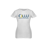 Youth Girls White Fashion Fit T Shirt-OLLU Our Lady of the Lake University Stacked