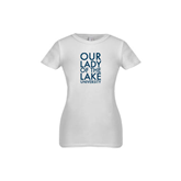 Youth Girls White Fashion Fit T Shirt-Our Lady of the Lake Stacked