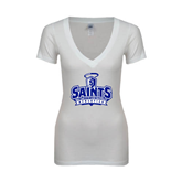 Next Level Ladies Junior Fit Deep V White Tee-Our Lady of the Lake University Athletics - Offical Logo