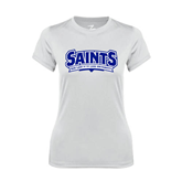 Ladies Syntrel Performance White Tee-Saints - Our lady of the Lake University