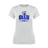 Ladies Syntrel Performance White Tee-OLLU Saints