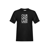 Youth Black T Shirt-Our Lady of the Lake Stacked