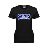 Ladies Black T Shirt-Saints - Our lady of the Lake University