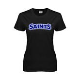 Ladies Black T Shirt-Saints