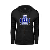 ENZA Ladies Black Fleece Full Zip Hoodie-OLLU Saints
