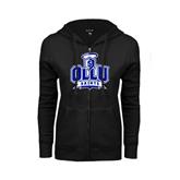 ENZA Ladies Black Fleece Full Zip Hoodie-OLLU Saints