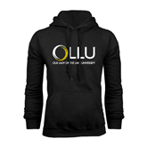 Black Fleece Hoodie-OLLU Our Lady of the Lake University Stacked
