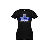 Youth Girls Black Fashion Fit T Shirt-Our Lady of the Lake University Athletics - Offical Logo