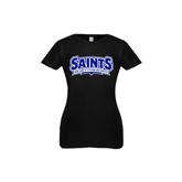 Youth Girls Black Fashion Fit T Shirt-Saints - Our lady of the Lake University
