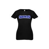 Youth Girls Black Fashion Fit T Shirt-Saints