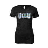 Next Level Ladies Junior Fit Black Burnout Tee-OLLU