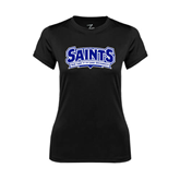Ladies Syntrel Performance Black Tee-Saints - Our lady of the Lake University