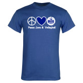 Royal T Shirt-Peace Love and Volleyball Design