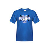 Youth Royal T Shirt-Softball Crossed Bats Design