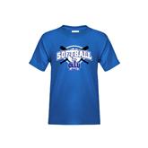 Youth Royal T Shirt-Softball Crossed Bats Design