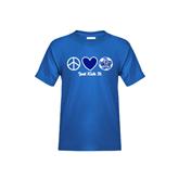 Youth Royal T Shirt-Just Kick It Soccer Design