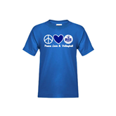 Youth Royal T Shirt-Peace Love and Volleyball Design