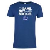 Ladies Royal T Shirt-Game. Set. Match. Tennis Design