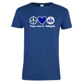 Ladies Royal T Shirt-Peace Love and Volleyball Design