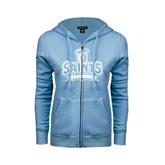 ENZA Ladies Light Blue Fleece Full Zip Hoodie-Our Lady of the Lake University Athletics - Offical Logo