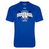 Under Armour Royal Tech Tee-Softball Crossed Bats Design