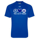 Under Armour Royal Tech Tee-Peace Love and Volleyball Design