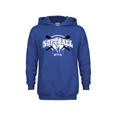 Youth Royal Fleece Hoodie-Softball Crossed Bats Design