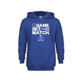 Youth Royal Fleece Hoodie-Game. Set. Match. Tennis Design