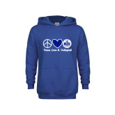 Youth Royal Fleece Hoodie-Peace Love and Volleyball Design