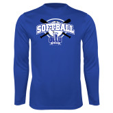 Performance Royal Longsleeve Shirt-Softball Crossed Bats Design